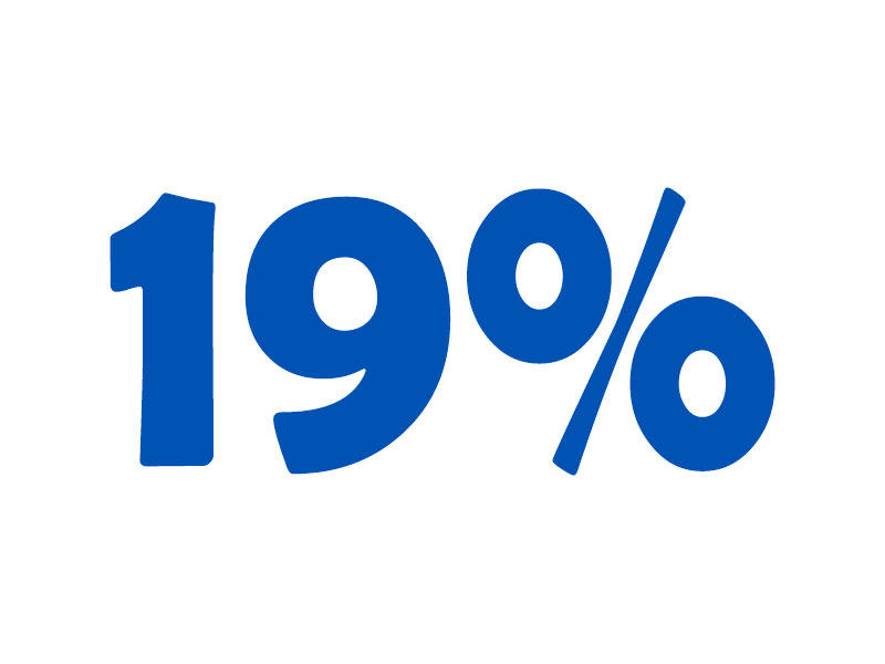 19% VAT online calculator. Add or subtract 19% tax.